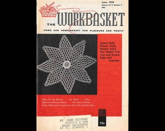 The Workbasket - Vintage Craft Magazine c. June 1958 - Number 9 Volume 23 - Craft Patterns - Knitting - Crochet - Sewing - Needle Craft