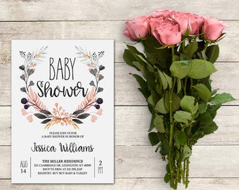 Baby Shower Invitation, Floral Wreath, Watercolor, Baby Shower Girl, Coral and Gray Baby Shower, Floral Invitation, Printable No. 1043