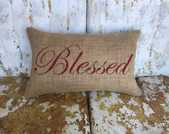 BLESSED in Script Font Lumbar Style Fall Thanksgiving Painted Burlap Throw Accent Pillow Home Decor