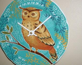 Turquoise Owl Wall Clock 7-3/4 Inches SILENT, Nursery Decor, Animal Decor, Bird Clock, Cute Owl Clock, Child Bedroom Clock - 2111