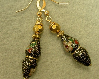 Vintage Chinese Black Cloisonne RARE BI CONE Dangle Drop Bead Earrings ,Vintage German Faceted Gold Crystal Bead,Gold Ear Wires