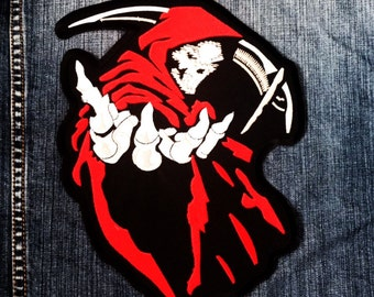 LARGE SIZE Grim Reaper Scythe God of Death Ghost Embroidered Sew Iron on Patch