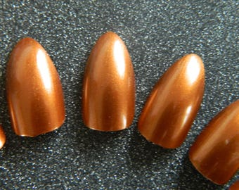 Copper Stiletto False Nails.