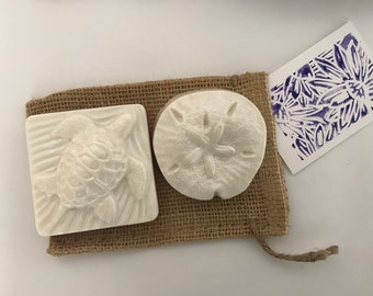 Sea turtle and sand dollar soaps