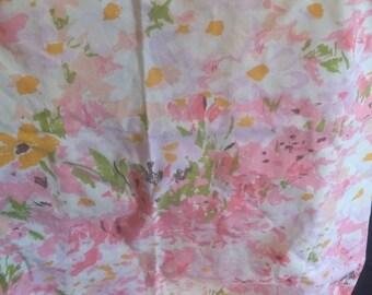 Vintage 1970s pink floral pillowcase cotton blend