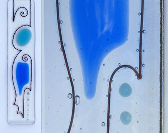 Liana's Sky, Fused Glass Wall Art - Sky Blue and True Blue on Clear glass - bold, colourful design - medium