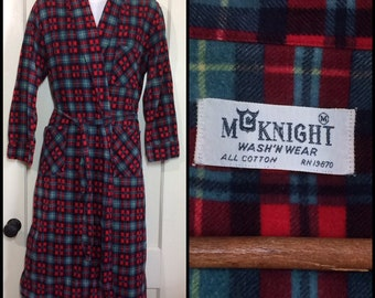 1950's soft cotton flannel smoking jacket long robe size small red turquoise blue black plaid rockabilly loungewear by McKnight Wash-n-Wear
