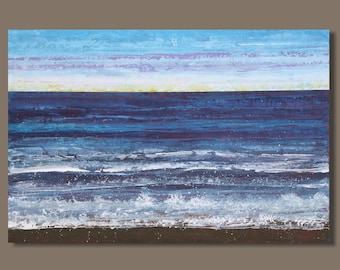 large abstract painting, landscape painting, ocean painting, beach painting, seascape, nova scotia, blue, modern art on canvas,