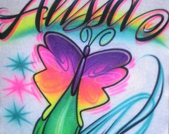 Airbrush T Shirt Butterfly And Name, Airbrush Butterfly, Butterfly Shirt, Butterfly, Airbrush, Airbrush Shirt, Butterfly T Shirt, Shirt