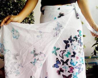 Cotton Wrap Skirt Sarong Tie Summer Design Floaty Beach White Blue