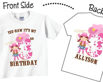 Cowgirl Birthday Shirts and Tshirts for Second Birthday, Third Birthday, Any Birthday Tees