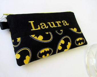 Handmade pencil pouch with zipper - Batman sign - yellow - embroidery monogram name - unisex storage bag - back to school - gift ideas