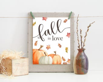 Fall in Love Print-Fall Printable-Pumpkins Leaves Print-Fall Print-Autumn Print-Pumpkin Leaves Print-Printable Wall Art-Instant Download
