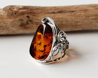 Beautiful Natural Cognac Baltic Amber Ring, Beautiful Cognac Amber Ring, Amber And Sterling Silver Adjustable Ring, Baltic Amber Jewelry