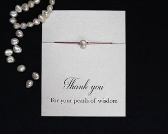 Thank you bracelet, pearls of wisdom, thank you gift, pearl bracelet, teacher gift, best friend gift, best friend bracelet, gift for teacher