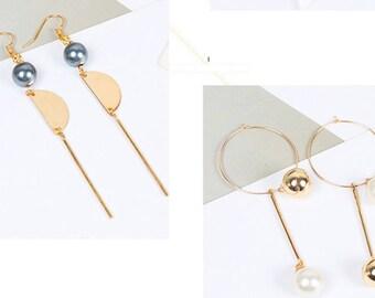 Kit diy boucle d'oreilles bijoux diy rond perles demie-ronde métal fleurs