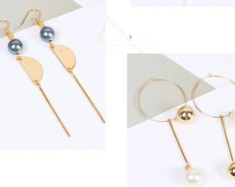 Kit diy earrings jewelry diy round beads half-round metal flowers