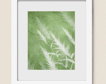 Green Grass Dining Room Wall Art Print 8 x 10, Nature Wall Decor, Botanical Art for Home or Office (288)