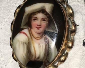 Antique Victorian Miniature Portrait Brooch Hand Painted Porcelain Cameo Dutch Pin