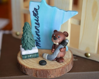 Hand Crafted Polymer Clay Minnesota Hockey-Playing Beaver Sculpture Buddy