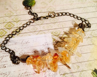 Citrine spikes and Brass Bracelet, Citrine spike beads, yellow spike beads, organic style, rustic, antiqued brass. Honey Drip bracelet