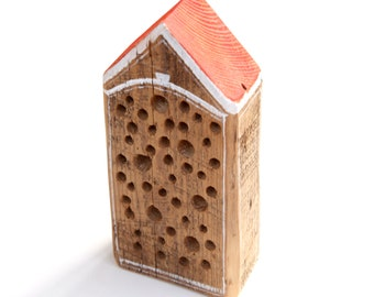 Bee Hotel - Reclaimed Wood Garden Ornament and Pollinator Habitat