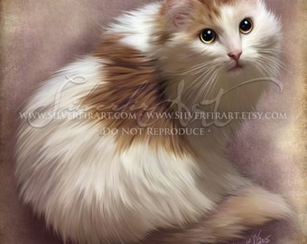 Melvin...Long Hair Cat - House Cat Study... Print - Your Choice of Size - Domestic House Cat Art Painting