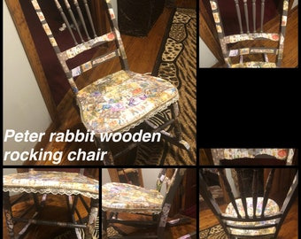 Peter rabbit solid wood rocking chair