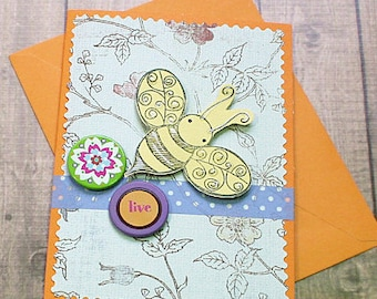 "Live and Bee Happy Wedding, Graduation, Get Well, Thinking of You, Congratulations Greeting Card - 4"" by 5.5"""