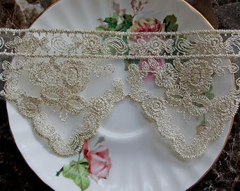 Reneabouquets Trim- 3 Inch Wide Vintage Gold Locket Lace, Embroidery,  Venice , Bridal, Costume Design, Lace Applique, Crafting