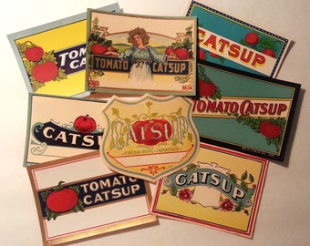 8 Different Original Unused Vintage 1920's -1930's Colorful Catsup Labels