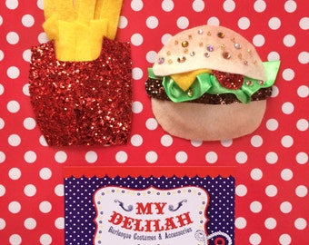 Fast Food Burlesque Costume Pasties Burger Fries Junk Food