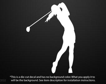 """Female Golfer Swinging Die Cut Vinyl Decal Sticker 3""""X4.25"""" Golfing Golf Club 70"""