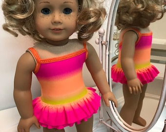 NEW! One-piece double ruffled Swimsuit made to fit 18 inch dolls such as American Girl