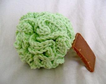 Green Bath Puff - Green Bath Pouf - Green Bath Loofah - Cotton Bath Puff - Cotton Bath Pouf - Cotton Bath Loofah - Ecofriendly Bath Pouf