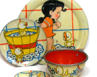 1940's tin toy tea set with Ducky Bath Time litho by Ohio Art Co. 4 piece setting.