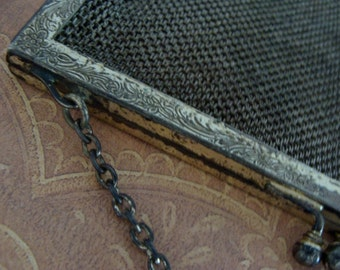 Antique Engraved Silver Mesh Victorian Edwardian Goth Purse