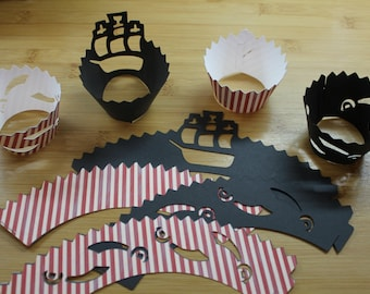 12 Pirate Cupcake Wrappers, Various Designs Available