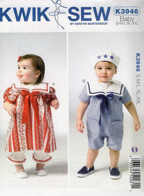 Free Us Ship Sewing Pattern Kwik Sew 3946 Baby Toddler Sailor Suit ...