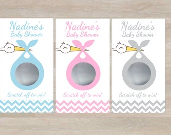 Baby Shower Scratch Off Game Cards Stork Special Delivery ( 10 card ct. per pack ) Personalized for you
