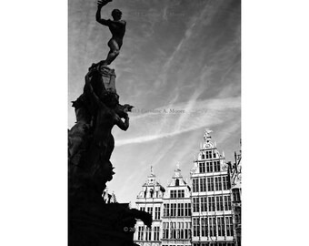 Antwerp Print, Canvas Wrapped Print, Belgium Photography, Fine Art Print, Wall Art, Black & White Decor, Grote Markt - The Fall of Antigoon