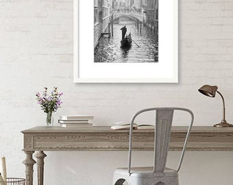 Venice Italy Photography, Black and White Wall Art, Gondola Boat, Travel Decor, Italy Print, Canal, dreamy, romantic, Europe Decor, Vertical