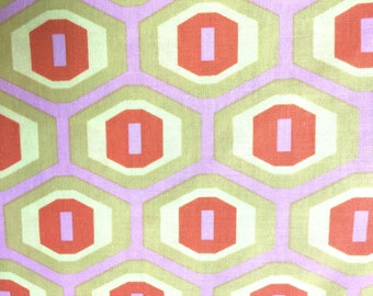 Amy Butler Fabric, Midwest Modern Honeycomb, Sand, AB25, Orange, Pink, Yellow, Modern