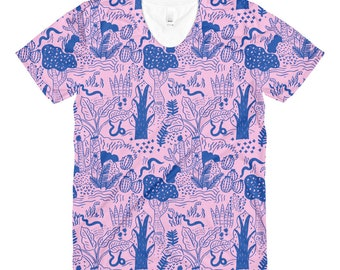 Licorice Snakes in Candy Jungle Pink & Blue T-shirt by Sarah Walsh