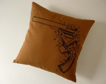 Vintage Gun Diagram silk screened cotton canvas throw pillow 18 inch black on caramel