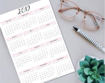 2019 Year at a glance calendar! ~DIGITAL DOWNLOAD~