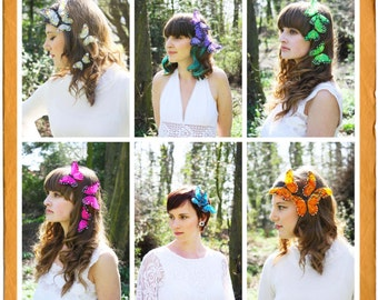 Butterfly Feather Hair Slides - Bohemian Love Story , Accessories , Couture