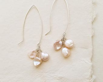 Champagne Keshi Pearl Long Dangle Earrings, Pearl Cluster Earrings, Pearl Bridal Earrings
