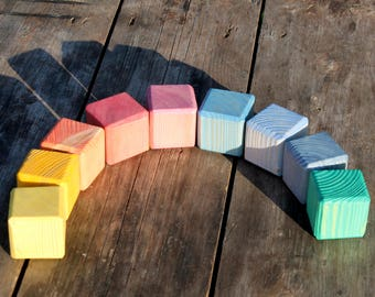 Wood Toy Rainbow Stacker Waldorf Toddler Toy Wooden Stacking Toy Rainbow Wooden Toy Rainbow Blocks