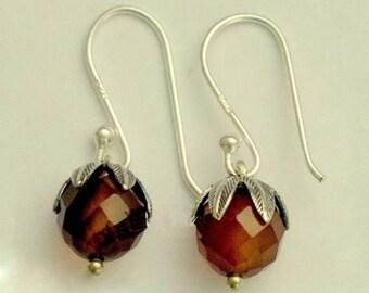 Small earrings, red carnelian earrings, leaf earrings, casual earrings, gemstone earrings, dangle earrings,  drops.  - Cranberries E2068-1